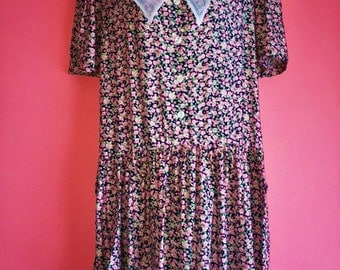 90s Floral Print Collared Dress, Size 10