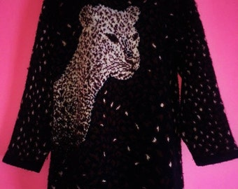 Leopard Tunic Turtleneck Sweater, Size M