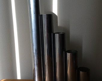 Set of 5 Art Deco Chrome Tube Candle Holders