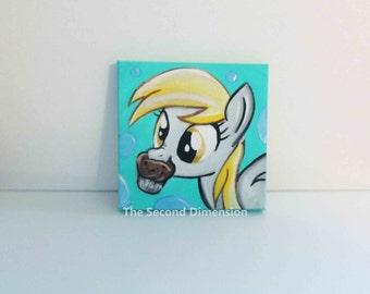 Derpy Hooves  MLP Mini Art Painting Acrylics Cartoon My Little Pony - 4 x 4 Inches