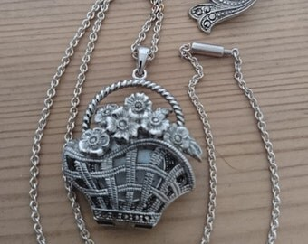 Vintage marcasite pendant watch and earrings