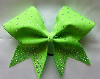 Lime Neon Green Cheer bow with AB crystals