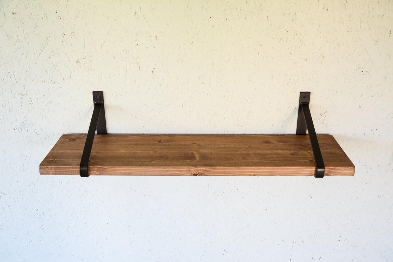 Rustic Wood Shelf with Steel Brackets 32 x 8
