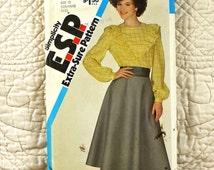 Blouse and Skirt, Simplicity 6019 Pattern for Women, FREE SHIP, Ruffle V Yoke, Back Buttons, Zipper, Circle, 1983 Uncut, Size 12 14 16, 3-oz