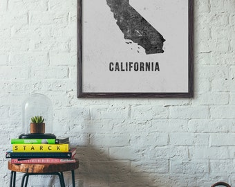 Map Poster, California Map Art Printable, Modern Map Art, Printable State Map Art, New Year Gift, Christmas Gift, 5x7 8x10 11x14 16x20, E005