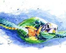 SEA TURTLE PAINTING - green sea turtle art print, watercolor sea turtle decor, turtle wall art, sea life art