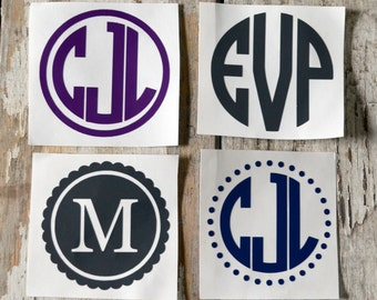 Set of Two, 2 inch Vinyl Monogram Decals