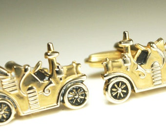 Coolest little convertible soft top Steam engine car set of vintage cufflinks. Rich gold color with incredible details.