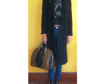 Long black Wool Coat, Size S