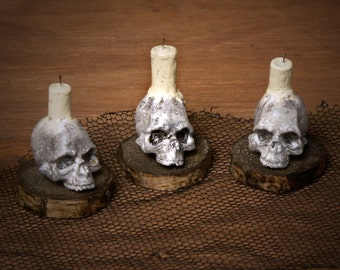 Creepy Miniature Skull with Candle for your Dollhouse
