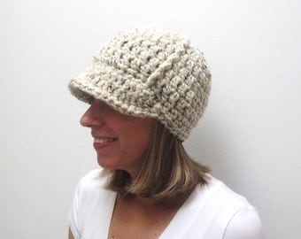 SALE! Chunky Women's Newsboy Hat - Ladies Womens Brimmed Hat - Crochet Knit Newsboy Hat - Adult Newsboy Hat - Oatmeal