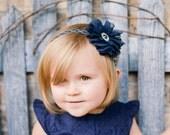 Navy Blue Headband, Navy Flower Headband, Newborn Headband, Newborn Photo Prop, Navy Silver Headband, Baby Shower Gift, Navy Blue Wedding