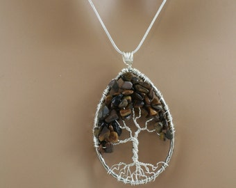 Tree of Life Pendant Cats Eye Tigers Eye Handmade Jewelry Gemstones Wire Wrapped Trees Custom