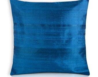 Turquoise Raw Silk Pillow Cover- Dupioni Silk Cushion Cover-Decorative Throw Pillow