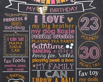 Pink Pumpkin First Birthday Chalkboard Poster, Pumpkin Pink  Orange and Glitter 1st Birthday Chalk Board Sign, Halloween Birthday Chalkboard
