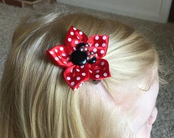 Minnie Mouse Hair Clip, Hair Bow, Girl's, Child's, Kanzashi