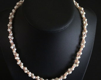 Layered Real Pearl and Crystal Necklace