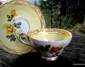 Royal Sutherland Yellow Rose Fine Bone China Tea Cup and Saucer from Staffordshire - Vintage Yellow Rose Tea Cup