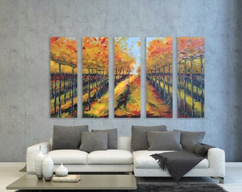 "Vineyard Painting, Napa Valley Art 60"" Large MADE TO ORDER,Five Panel Textured Vineyard Vines Artwork by San Francisco Bay Artist Lisa Elley"