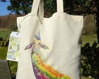 Tote Bag/Cotton Eco Tote Bag/Rainbow Maker/Spiritual art/Healing Art/Chakras/Angels/Meditative art/Meditation