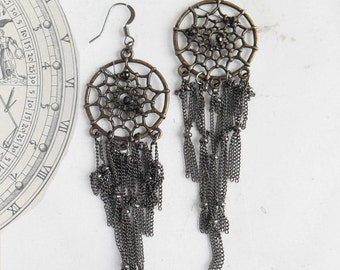 Dream Goddess . dreamcatcher earrings with black chains and pyrite beads embroidery .