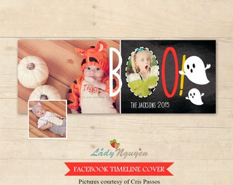 INSTANT DOWNLOAD Halloween Facebook Timeline Cover Photoshop Template - F167
