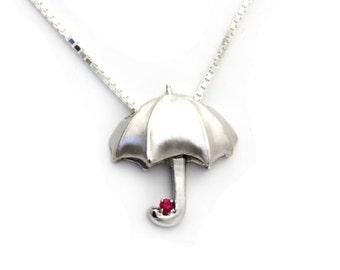 Birthstone Pendant, Silver Umbrella, Jewelry Talisman, Custom Silver Pendant