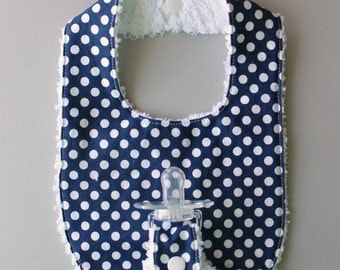 Baby Binky Bib in Riley Blake Navy Small Dots Fabric with Chenille Back