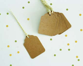 Blank Kraft Scalloped Swing Tags with String Included  10 Pack | 25 Pack | 50 Pack and 100 Pack Available.