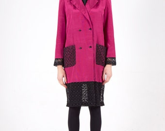 Fuchsia ottoman coat with lace poc kets and follar