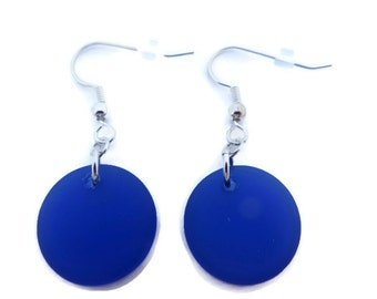 Bright Blue Earring, Cobalt Blue Dangle Earring, Blue Sea Glass Earring, Blue Beach Glass Dangle, Royal Blue Earring, Recycled Glass