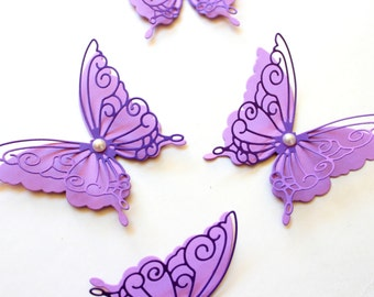 Purple Butterfly Wall Decor - Purple Wall decor - Purple Christmas decorations - Paper butterflies - Nursery wall art - Party Supplies