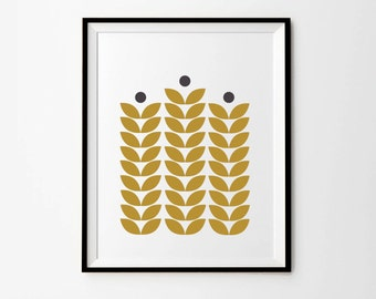 Scandinavian Print,  5 x 7 in, 8 x 10 in,  11 x 14 in, Mustard Wall Art, Scandinavian Poster, Printable Art