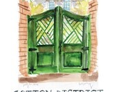 Cotton District, Starkville Mississippi - Green Gate - Watercolor Print - Hand Lettering