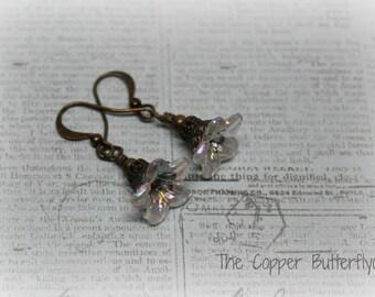 Antique Bronze Filigree Wrapped Flower Earrings -6130196