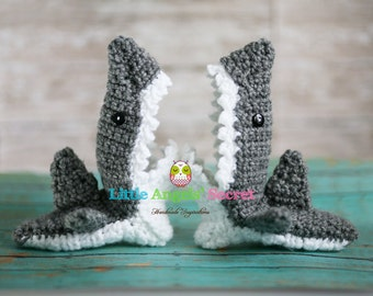 Crochet Shark booties, Photo props, shark slippers, shark booties, shark accessories, sharks.