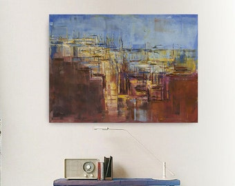 "FREE SCHIPPING! Abstract painting ""City AZ"".100% authentic, oil painting on cotton canvas. Unique impasto texture.39.37/27.5(100/70cm)."