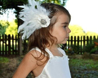 Bridal Fascinator - A Silk Dupioni Flower Clip With Feather Accents - The Tara Feather Wedding Fascinator
