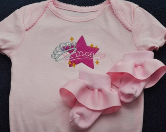 Princess with Crown Onesie or T-Shirt and Matching Socks