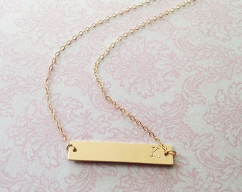 Hand Stamped Initial Gold Bar Necklace // 14k Gold Filled Bar Necklace // Bridesmaids Gifts // Gifts for Her