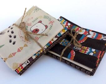 Big Bear Little Bear Fat Quarter bundle - Lewis & Irene - woodland fabric bundle, arrows, teepee, totem, native american, boy fabric