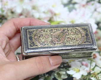 Vintage Silver Harp Jewelry Box Antique Three colors Rings Box Storage Organizer
