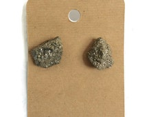 Raw Pyrite Earrings Pyrite Studs Rough Fools  Gold Studs Earrings Crystal Jewelry Boho Druzy Geode Mineral Minimalist Nickel Free Sensitive