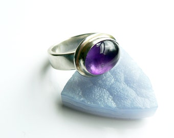 Amethsyt Ring.  Amethyst and Sterling Silver Ring.  Purple Ring
