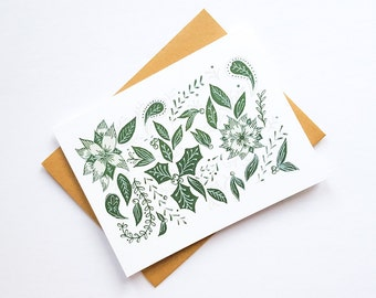 Christmas Holiday Botanical Design Card   Hand illustrated   Festive Card   Screenprinted Card   Blank Holiday Card   Holiday Greeting Card