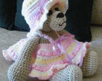 """Crocheted teddy bear stuffed animal doll toy """"Mandy"""""""