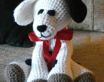 "Crocheted puppy dog stuffed animal doll toy ""Spots"""