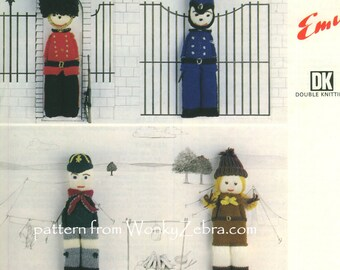 Knitted Knit Knitting DOLLS Pattern PDF 564 from WonkyZebra and ToyPatternLand