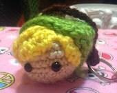 Link legend of Zelda Inspired  kawaii crocheted keychain