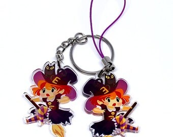 Cute Witch Keychain, Phone charm, Witch, Halloween, Spooky, kawaii keychain, kawaii witch, kawaii charm, anime charm, anime keychain